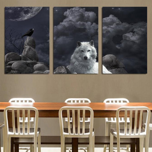 Wolf Sitting Calmly With His Friend Bird 3PCS Canvas Prints