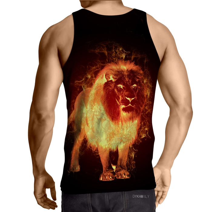Fantasy Lion Flaming Inferno Creature Dope Design Tank Top - Superheroes Gears