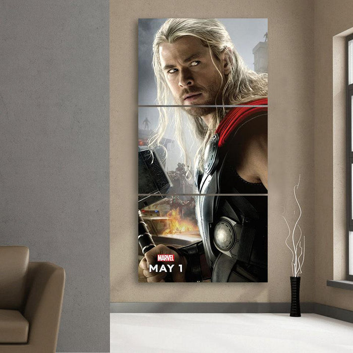 Marvel The Avengers Thor Portrait Unique 3pcs Canvas Print - Superheroes Gears