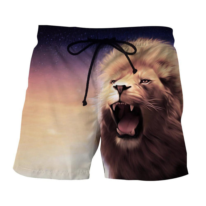 Mighty Lion Roar Fantas Sketching Style Urban Wear Shorts