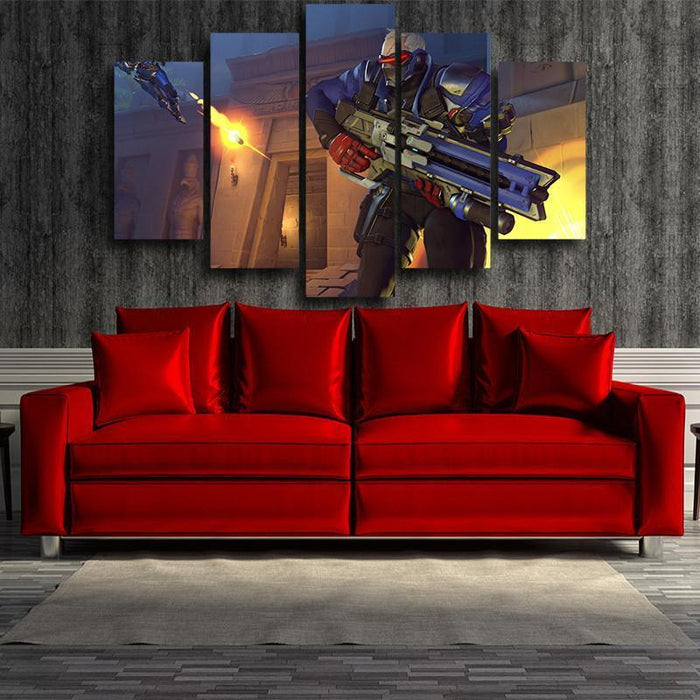 Overwatch Soldier 76 Manhunt 5pc Wall Art Decor Canvas Prints