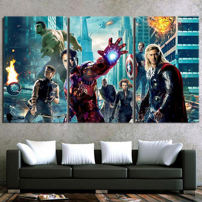 The Avengers Iron Man Black Widow Nick Fury Swag 3pcs Canvas Print