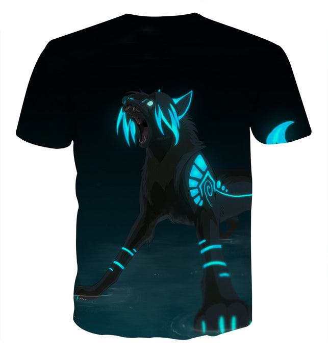 Dangerous Supernatural Black Wolf With Blue Marks T-Shirt
