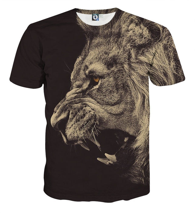 Roaring Powerful Lion Portrait Design Animal Theme T-Shirt