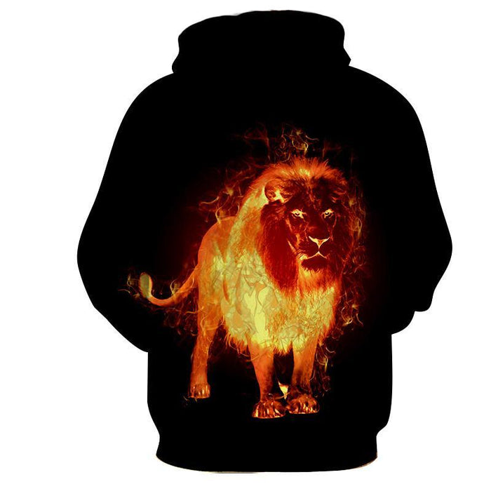 Fantasy Lion Flaming Inferno Creature Dope Design Hoodie - Superheroes Gears