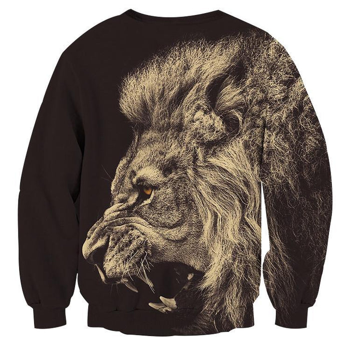 Roaring Powerful Lion Portrait Design Animal Sweatshirt