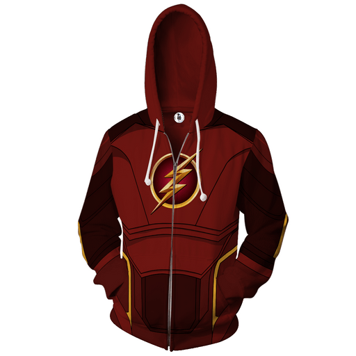 DC Comics The Flash Hero 3D Cosplay Maroon Zip Up Hoodie