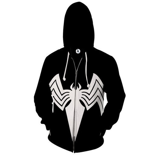 White Spider-Man Super Hero 3D Cosplay Black Zip Up Hoodie