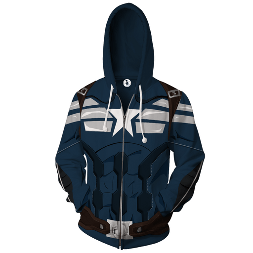 Captain America Hero 3D Cosplay Navy Blue Zip Up Hoodie