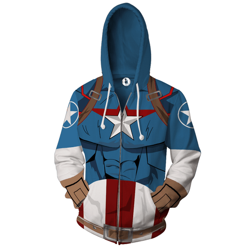 Marvel Comics Captain America Hero 3D Cosplay Zip Up Hoodie