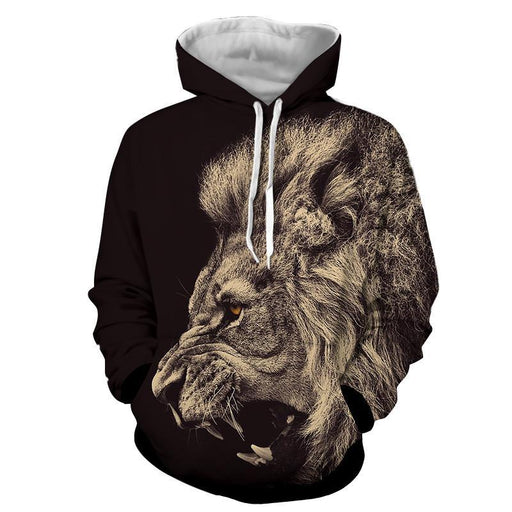 Roaring Powerful Lion Portrait Design Animal Theme Hoodie