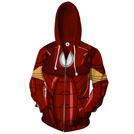 Marvel Iron Man Superhero 3D Cosplay Red Zip Up Hoodie