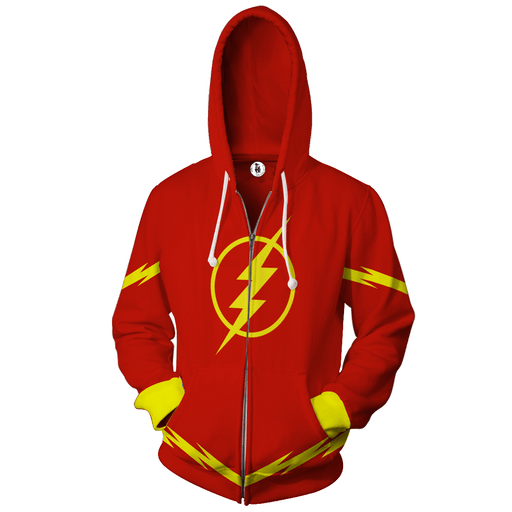 The Flash Superhero 3D Cosplay Red Zip Up Hoodie