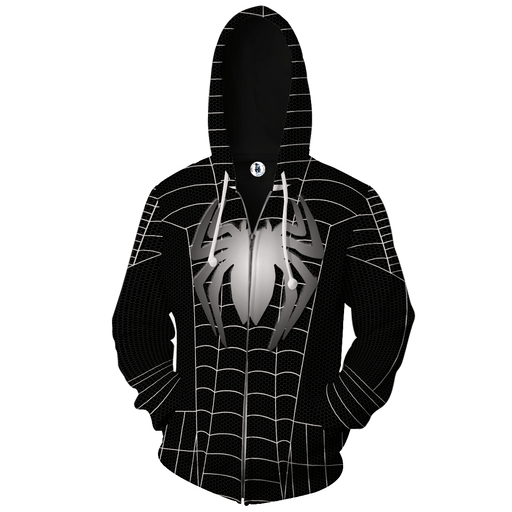 Spider-Man Hiding in Black 3D Cosplay Zip Up Hoodie