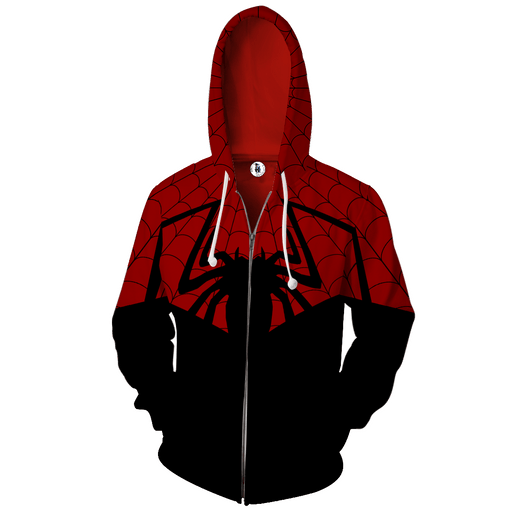 Powerful Spider-Man Hero 3D Cosplay On Black Zip Up Hoodie