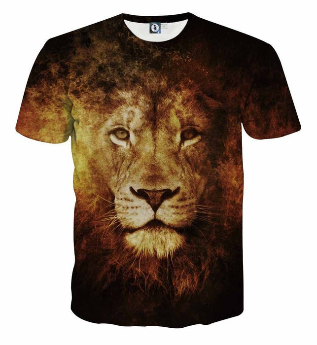 Majestic Lion Creative Sketch Fire Background Cool T-Shirt
