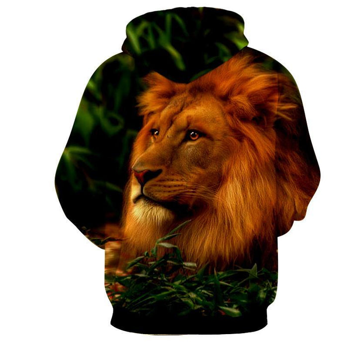Calm Lion King Portrait Majestic Full Print Winter Hoodie - Superheroes Gears