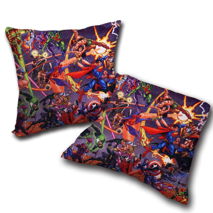 Justice League Fighting The Avengers Scene Full Print Decorative Pillow - Superheroes Gears