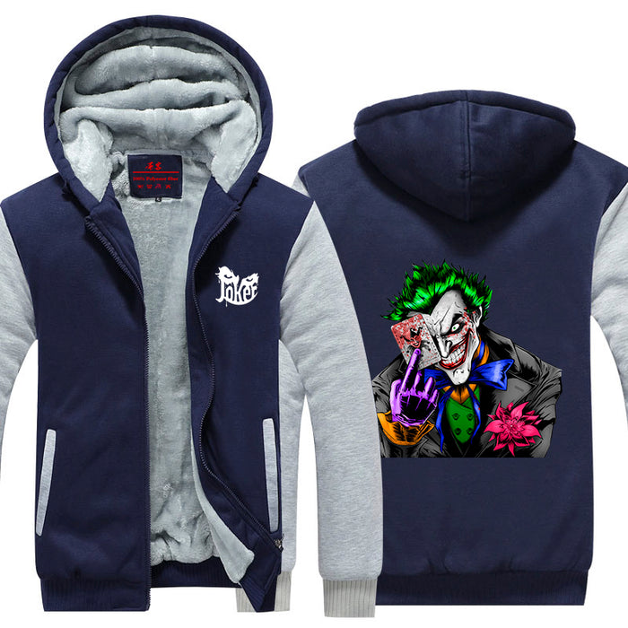 The Joker Holding Card Dope Posture Print Hooded Jacket