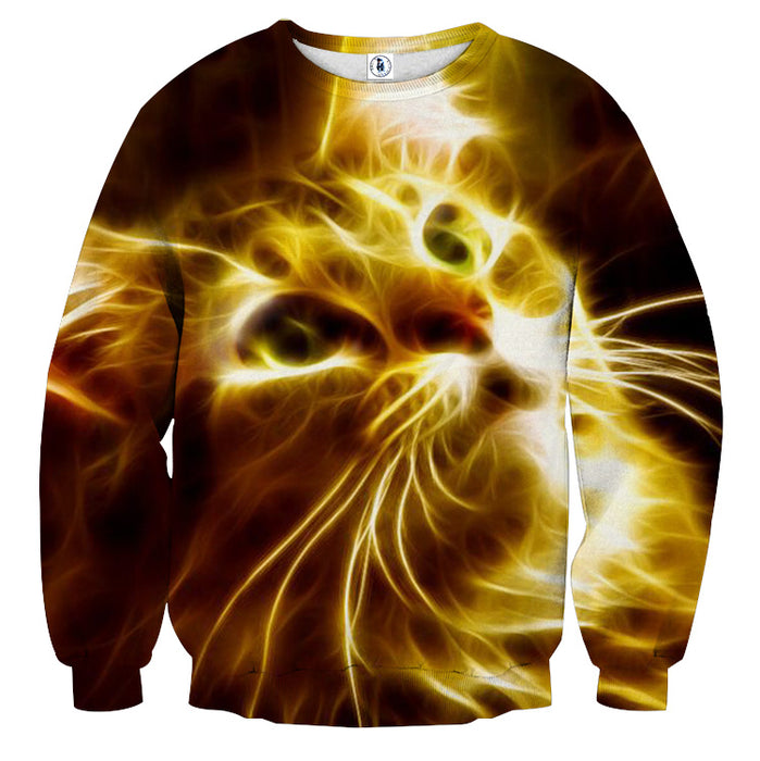 Cat Eyes Innocent Look Glowing Art Print Autumn Sweater - Superheroes Gears