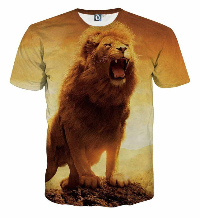 Lion King Roar Powerful Vibe Realistic Design T-Shirt