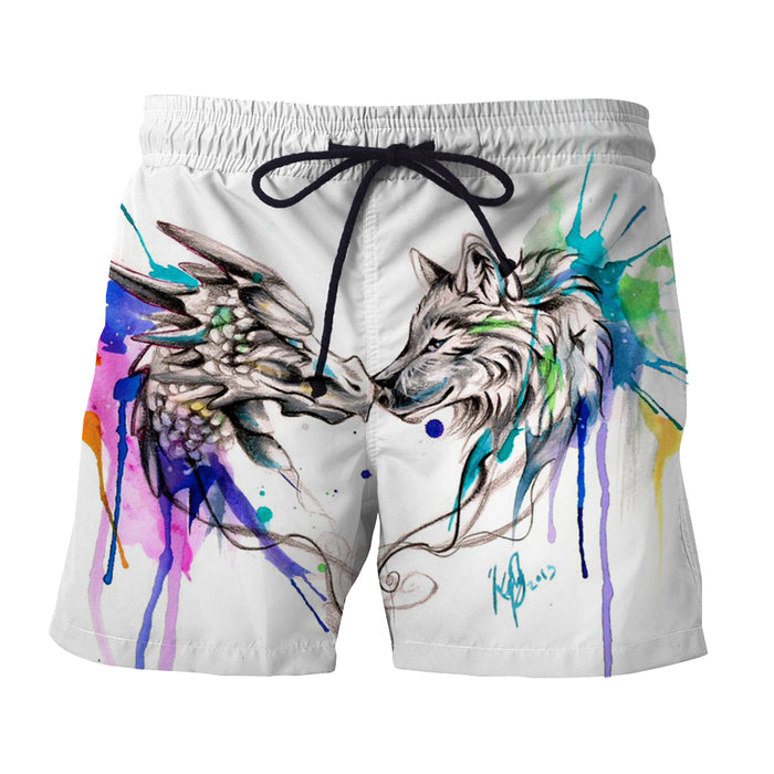 Amazing Lovely Wolf Art Colorful Splatter Trendy Boardshorts