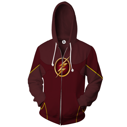 Red-Maroon The Flash Logo 3D Cosplay Zip Up Hoodies