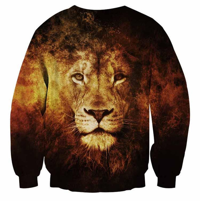 Majestic Lion Creative Sketch Fire Background Sweatshirt