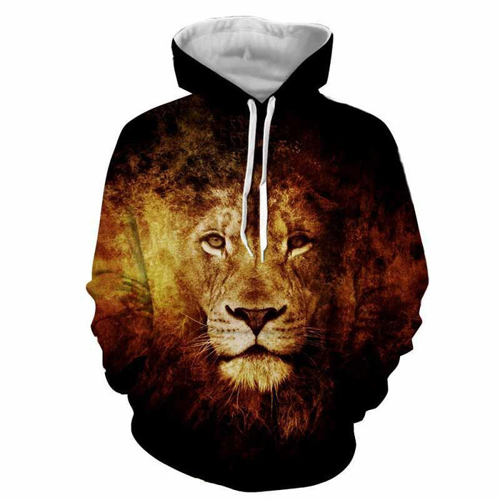 Majestic Lion Creative Sketch Fire Background Cool Hoodie