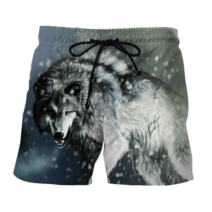 Hunting Winter Wolf Cold Snow Realistic Design Boardshorts