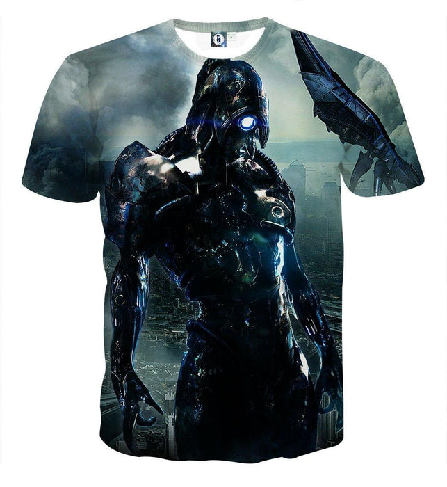 Mass Effect Geth Legion Damage Battle Armor Print T-Shirt