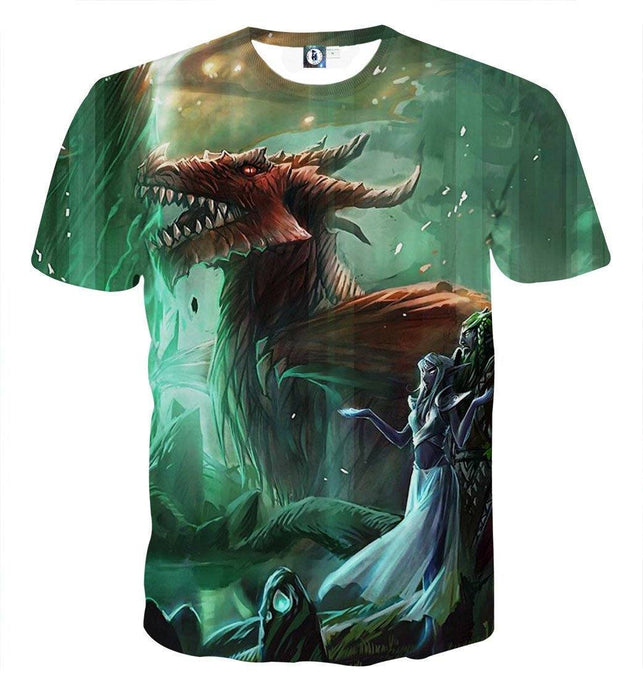 World of Warcraft Elf Dragon Fantasy Gaming Art T-Shirt