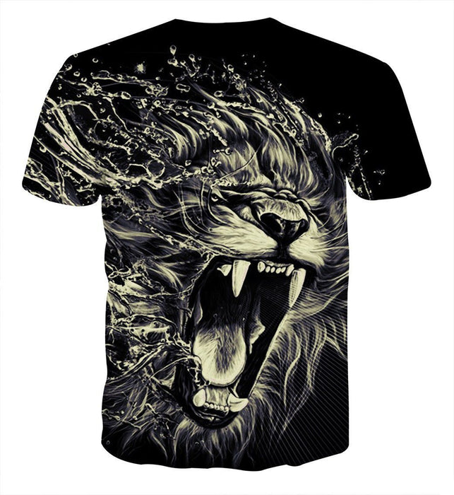 Creative Water Lion Attack Impressive Design Cool T-Shirt - Superheroes Gears