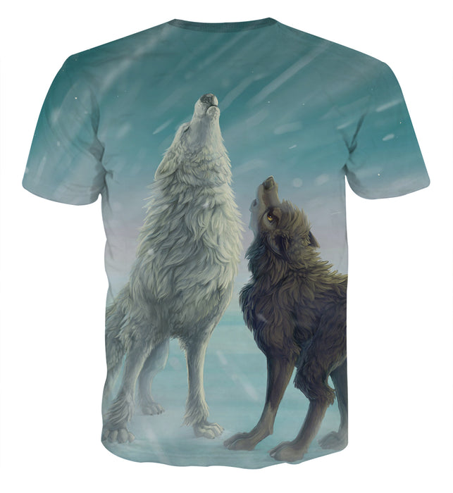 Two Howling Wolves In A Snowy Place Artistic Fashion T-Shirt