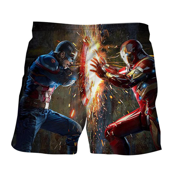 The Avengers Iron Man Fighting Captain America Print Shorts