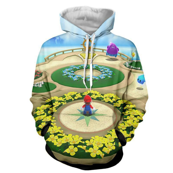 Super Mario Skyship Edition Cool Map Color Style Hoodie