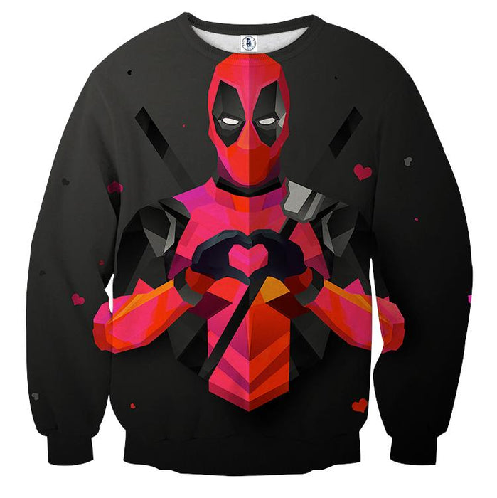 Hilarious Deadpool Love Icon Modern Design 3D Print Sweatshirt - Superheroes Gears
