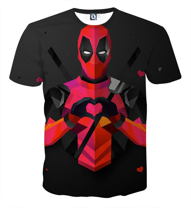 Hilarious Deadpool Love Icon Modern Design 3D Print T-shirt - Superheroes Gears