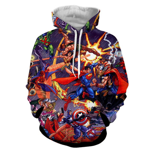 Justice League Fighting The Avengers Scene Full Print Awesome Hoodie