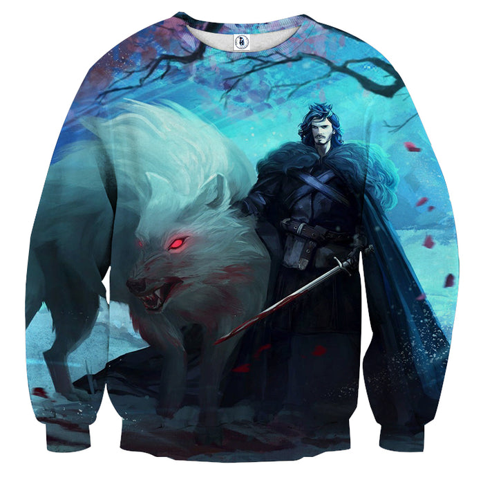 Wild Creepy Wolf With His Master Vibrant Blue Sweatshirt