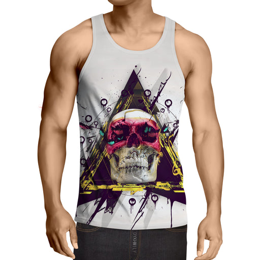 Butterfly Skull Rock-N-Roll Art Design White Tank Top - Superheroes Gears
