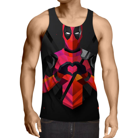 Hilarious Deadpool Love Icon Modern Design 3D Print Tank Top