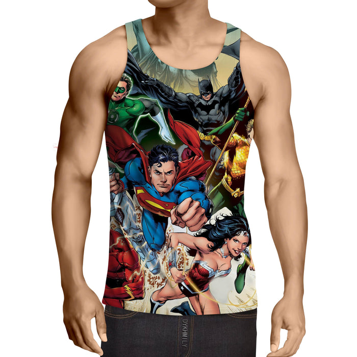 Justice League Superheroes Cool Team Art 3D Printed Tank Top - Superheroes Gears