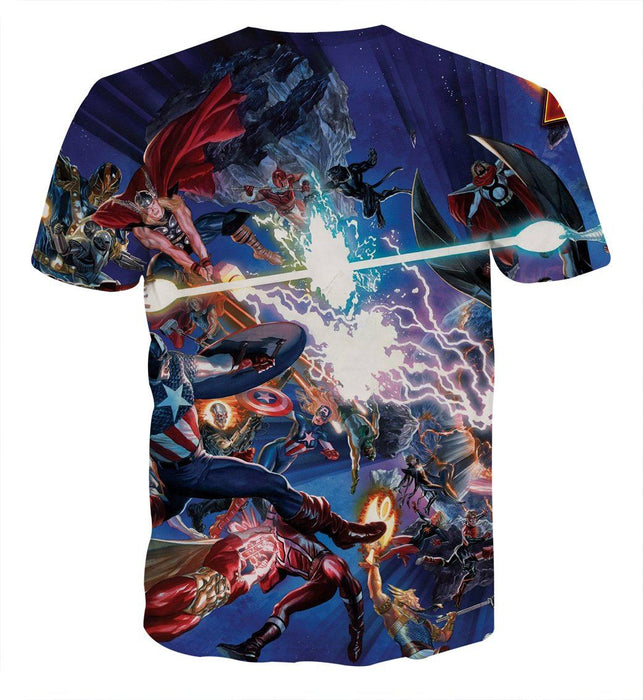 Marvel Guardians of the Galaxy Stunning Battle Scene 3D Full Print T-shirt