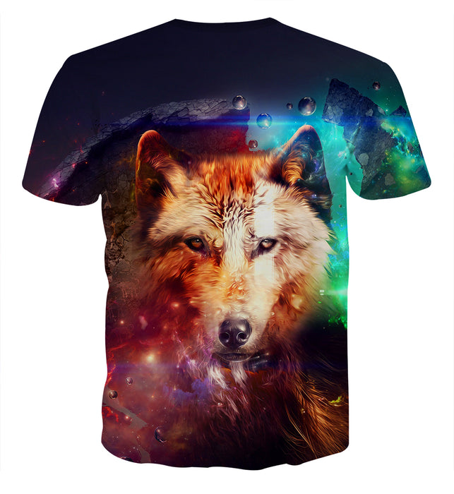 Impressive Wolf With Sharp Eyes Art Galaxy Colored T-Shirt