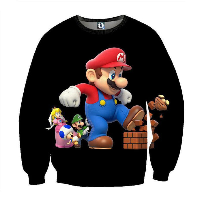 Super Mario Giant Luigi Bros Toad 3D Design Print Sweatshirt
