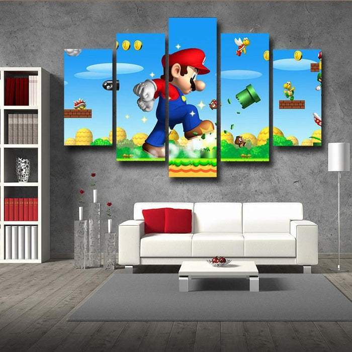 Super Mario Mega Mushroom 5pc Wall Art Posters Canvas Prints