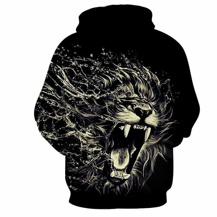 Creative Water Lion Attack Impressive Design Cool Hoodie - Superheroes Gears