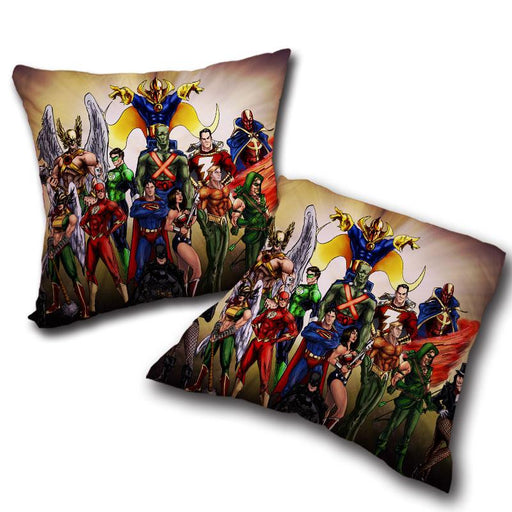 Justice League DC Superheroes All Characters Cool Throw Pillow - Superheroes Gears