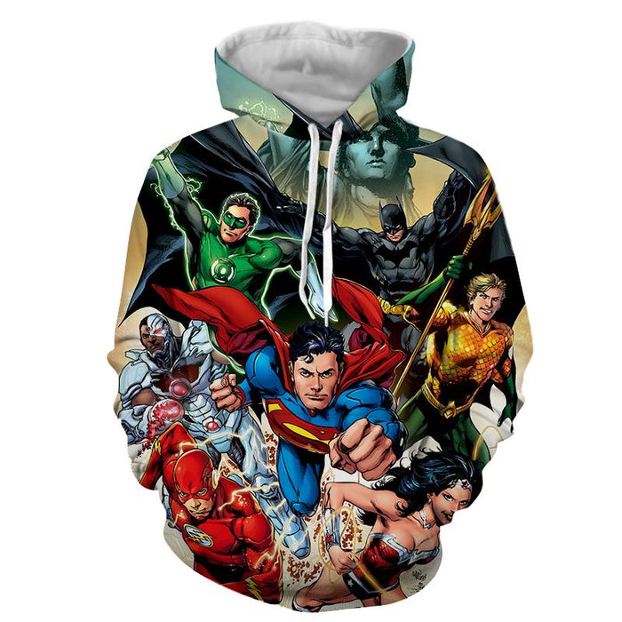 Justice League Superheroes Cool Team Art 3D Printed Hoodie - Superheroes Gears